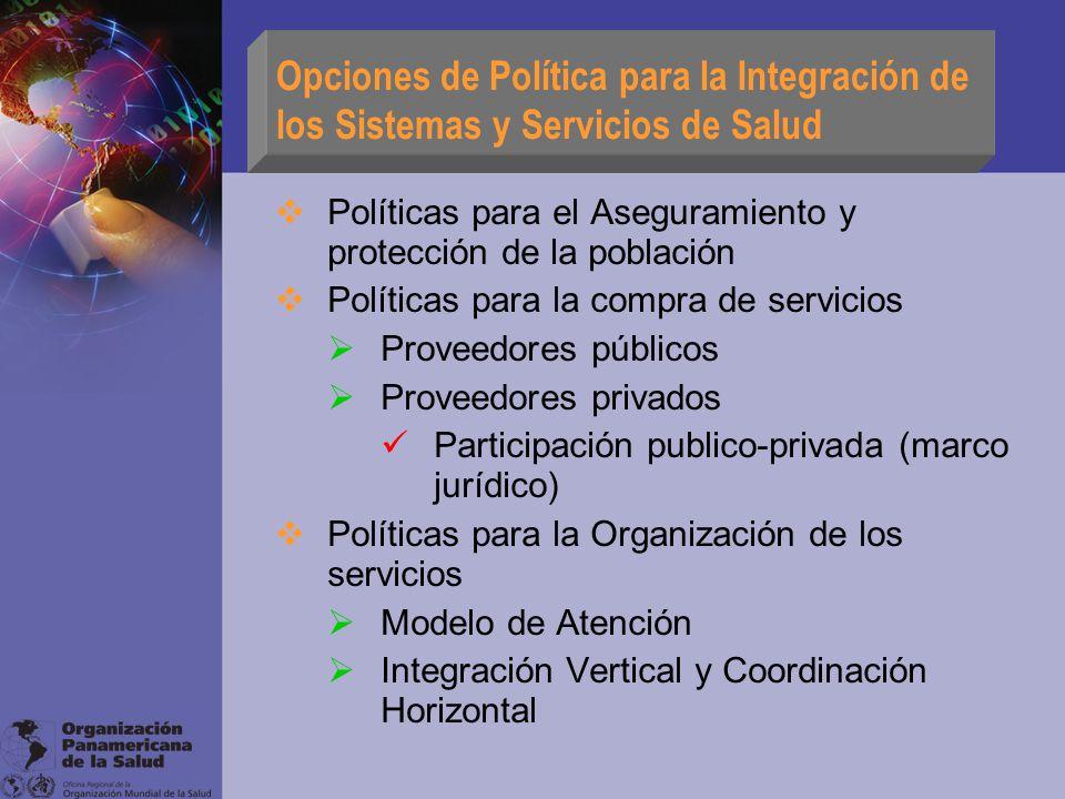 Opciones de Política para la Integración de los Sistemas y Servicios de Salud Políticas para el Aseguramiento y protección de la población Políticas p
