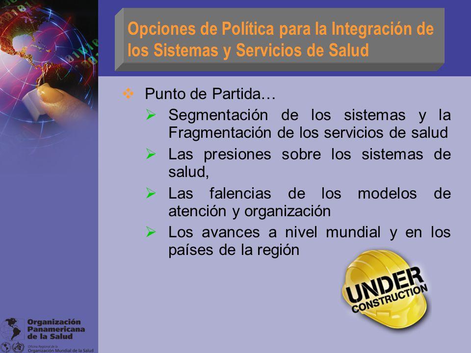 Opciones de Política para la Integración de los Sistemas y Servicios de Salud Punto de Partida… Segmentación de los sistemas y la Fragmentación de los