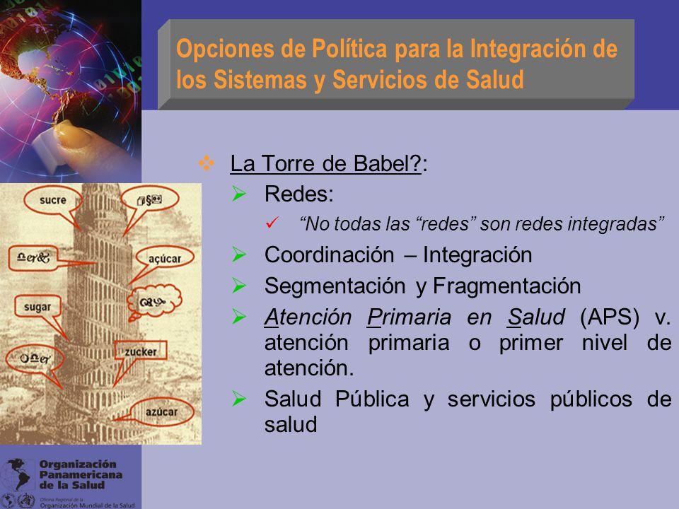 Opciones de Política para la Integración de los Sistemas y Servicios de Salud La Torre de Babel?: Redes: No todas las redes son redes integradas Coord