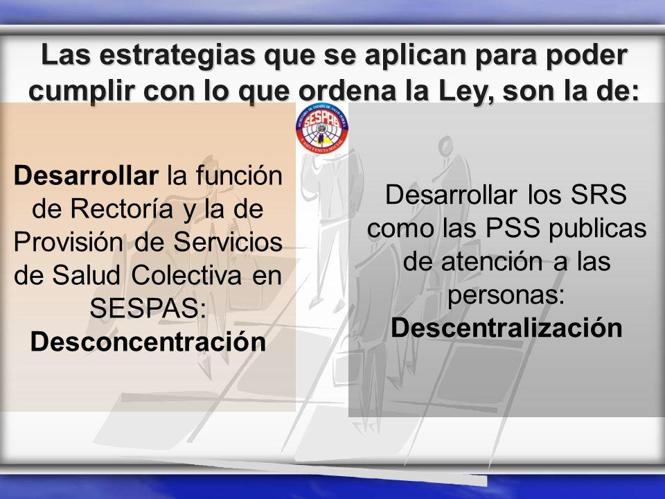 Las estrategias que se aplican para poder cumplir con lo que ordena la Ley, son la de: Desarrollar los SRS como las PSS publicas de atención a las per