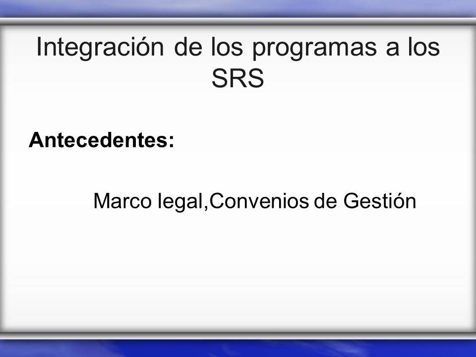Integración de los programas a los SRS Antecedentes: Marco legal,Convenios de Gestión