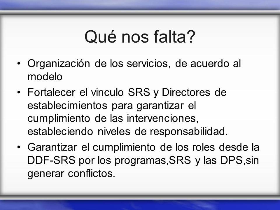 Qué nos falta? Organización de los servicios, de acuerdo al modelo Fortalecer el vinculo SRS y Directores de establecimientos para garantizar el cumpl