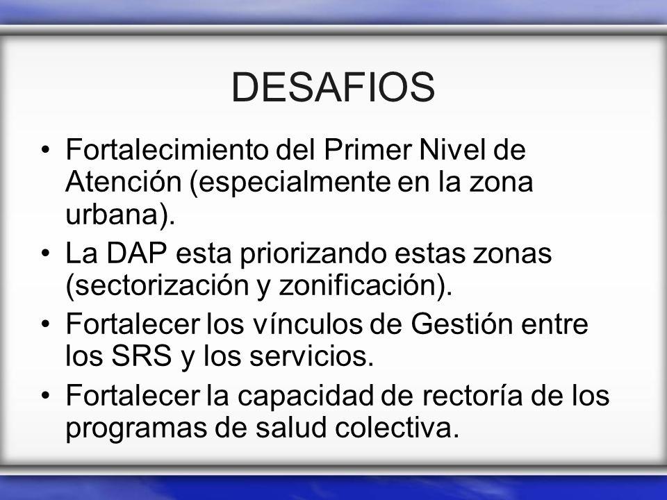 DESAFIOS Fortalecimiento del Primer Nivel de Atención (especialmente en la zona urbana). La DAP esta priorizando estas zonas (sectorización y zonifica