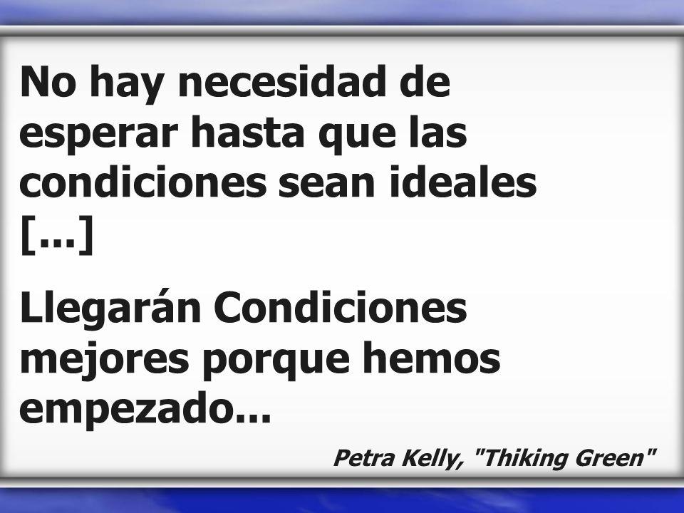 No hay necesidad de esperar hasta que las condiciones sean ideales [...] Llegarán Condiciones mejores porque hemos empezado... Petra Kelly,