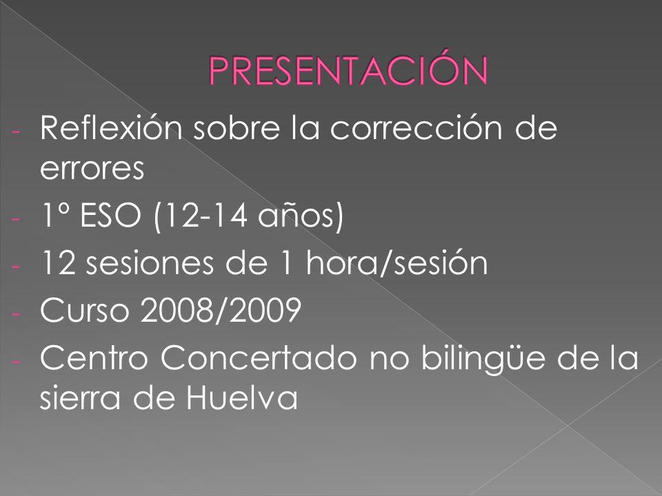 - Reflexión sobre la corrección de errores - 1º ESO (12-14 años) - 12 sesiones de 1 hora/sesión - Curso 2008/2009 - Centro Concertado no bilingüe de la sierra de Huelva