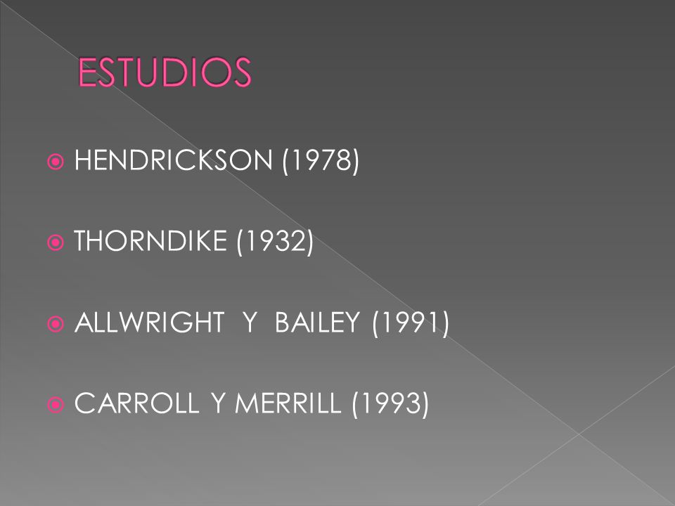 HENDRICKSON (1978) THORNDIKE (1932) ALLWRIGHT Y BAILEY (1991) CARROLL Y MERRILL (1993)