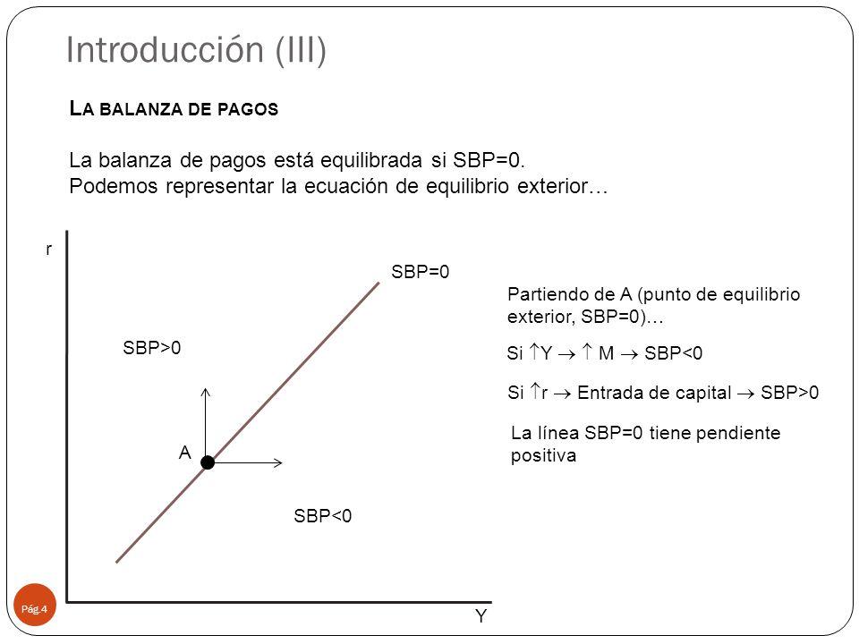 L A BALANZA DE PAGOS La balanza de pagos está equilibrada si SBP=0.