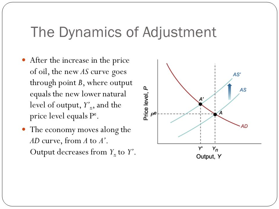 The Dynamics of Adjustment After the increase in the price of oil, the new AS curve goes through point B, where output equals the new lower natural le