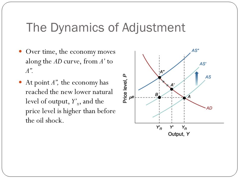 The Dynamics of Adjustment Over time, the economy moves along the AD curve, from A to A. At point A, the economy has reached the new lower natural lev