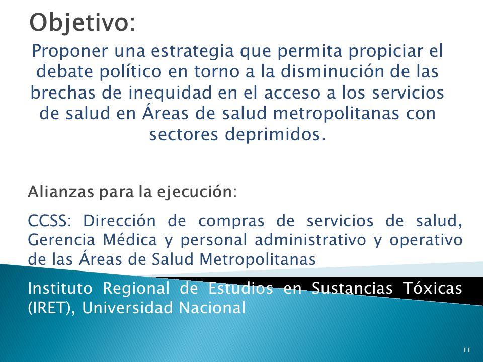 Objetivo: Proponer una estrategia que permita propiciar el debate político en torno a la disminución de las brechas de inequidad en el acceso a los se