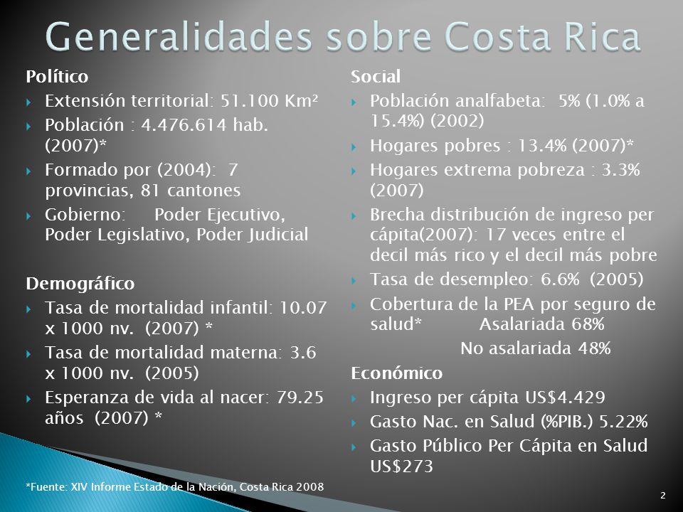 Político Extensión territorial: 51.100 Km² Población : 4.476.614 hab. (2007)* Formado por (2004): 7 provincias, 81 cantones Gobierno: Poder Ejecutivo,