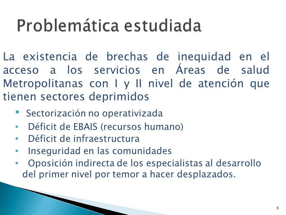 La existencia de brechas de inequidad en el acceso a los servicios en Áreas de salud Metropolitanas con I y II nivel de atención que tienen sectores d