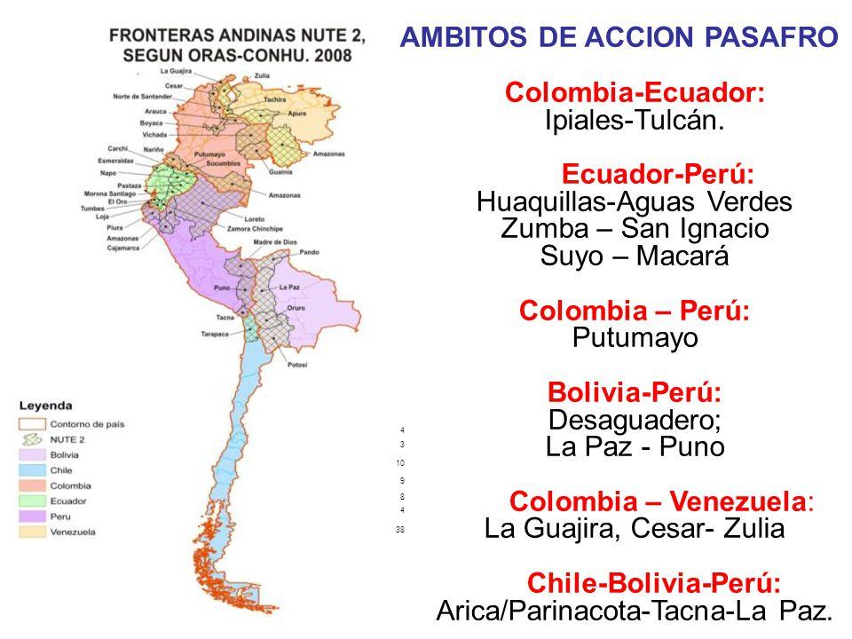 4 3 10 9 8 4 38 AMBITOS DE ACCION PASAFRO Colombia-Ecuador: Ipiales-Tulcán.
