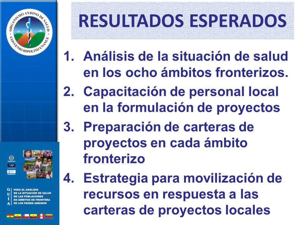1.Análisis de la situación de salud en los ocho ámbitos fronterizos.