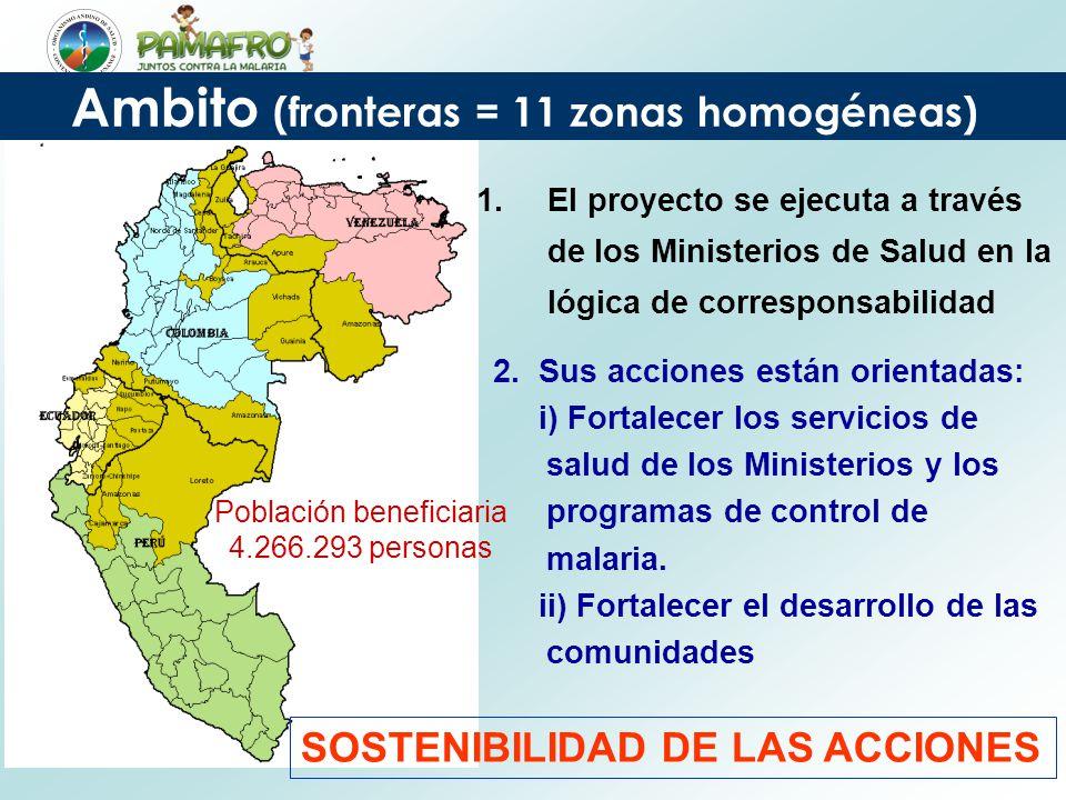 Ambito (fronteras = 11 zonas homogéneas) Población beneficiaria 4.266.293 personas 1.El proyecto se ejecuta a través de los Ministerios de Salud en la lógica de corresponsabilidad 2.