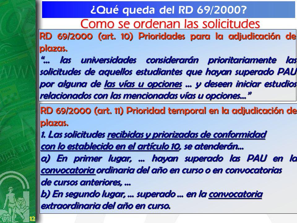 12 12 ¿Qué queda del RD 69/2000? RD 69/2000 (art. 10) Prioridades para la adjudicación de plazas. … las universidades considerarán prioritariamente la