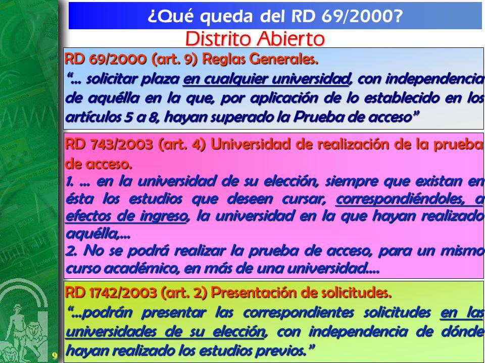9 9 ¿Qué queda del RD 69/2000? RD 69/2000 (art. 9) Reglas Generales. … solicitar plaza en cualquier universidad, con independencia de aquélla en la qu
