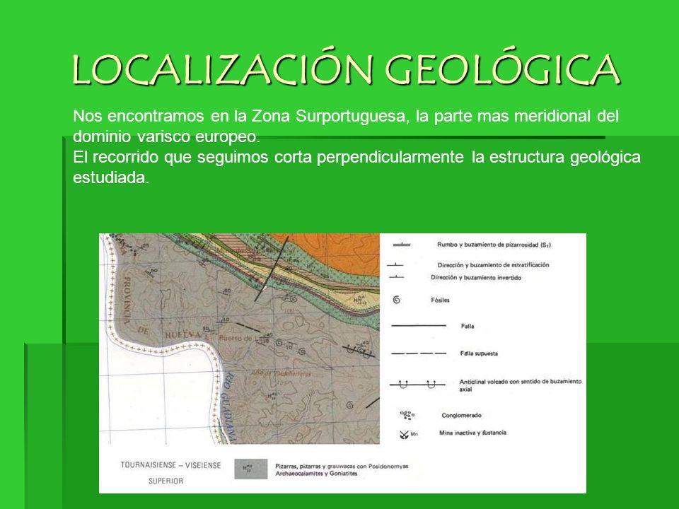 LOCALIZACIÓN GEOLÓGICA Nos encontramos en la Zona Surportuguesa, la parte mas meridional del dominio varisco europeo. El recorrido que seguimos corta