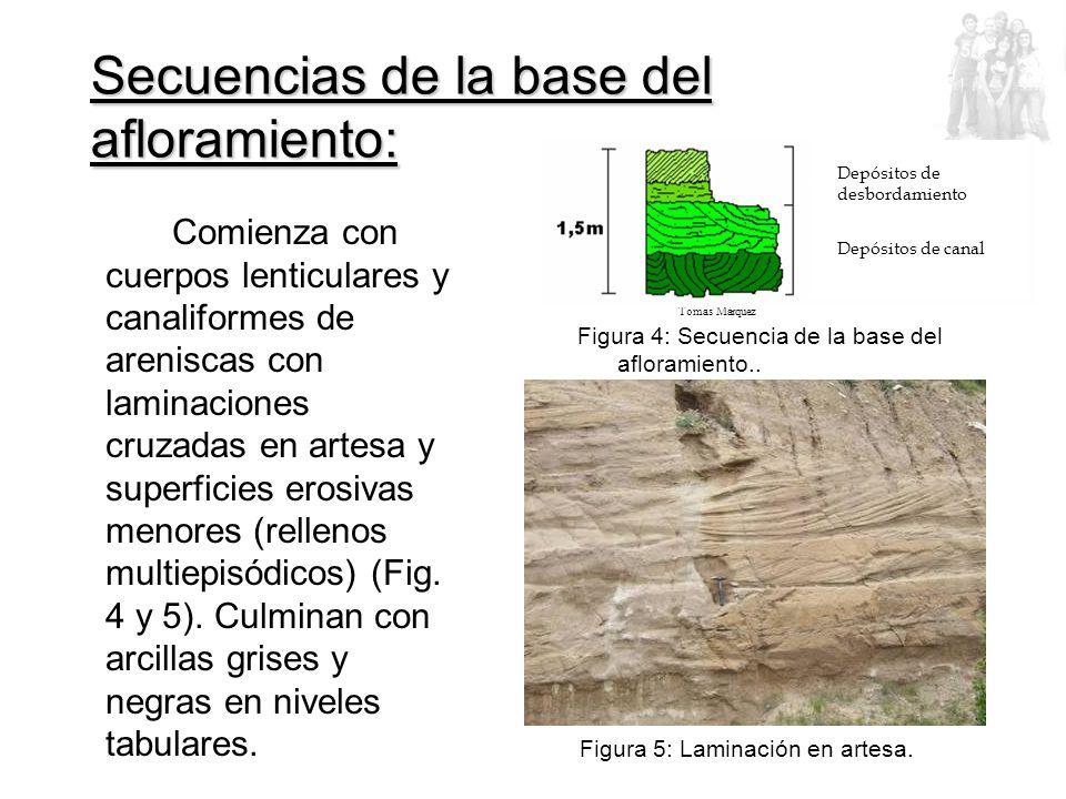 Comienza con cuerpos lenticulares y canaliformes de areniscas con laminaciones cruzadas en artesa y superficies erosivas menores (rellenos multiepisódicos) (Fig.