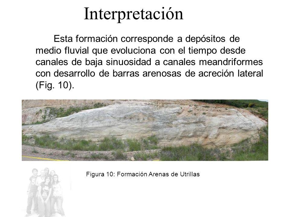 Esta formación corresponde a depósitos de medio fluvial que evoluciona con el tiempo desde canales de baja sinuosidad a canales meandriformes con desarrollo de barras arenosas de acreción lateral (Fig.