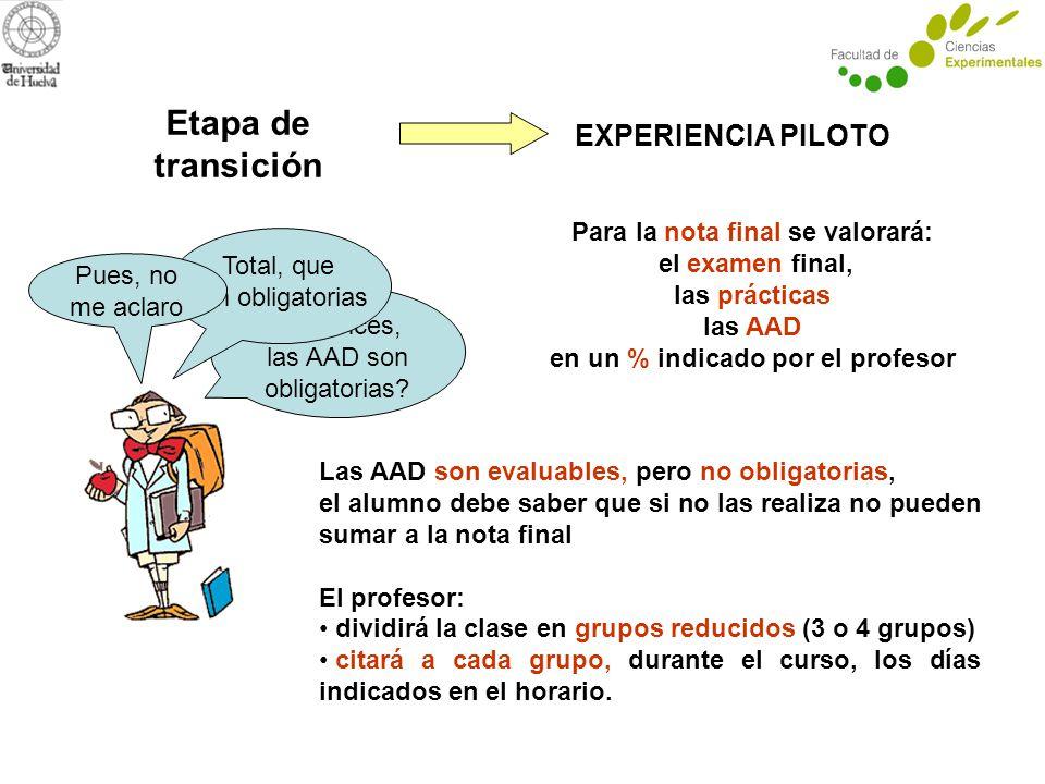 Etapa de transición EXPERIENCIA PILOTO ¿entonces, las AAD son obligatorias.