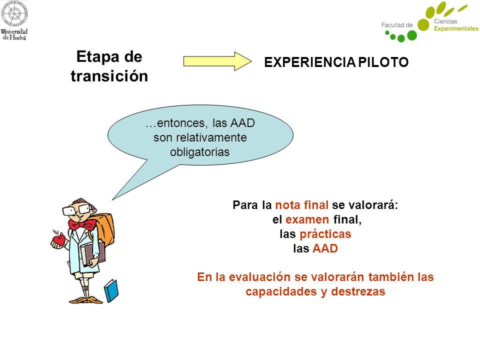 Etapa de transición EXPERIENCIA PILOTO …entonces, las AAD son relativamente obligatorias Para la nota final se valorará: el examen final, las prácticas las AAD En la evaluación se valorarán también las capacidades y destrezas