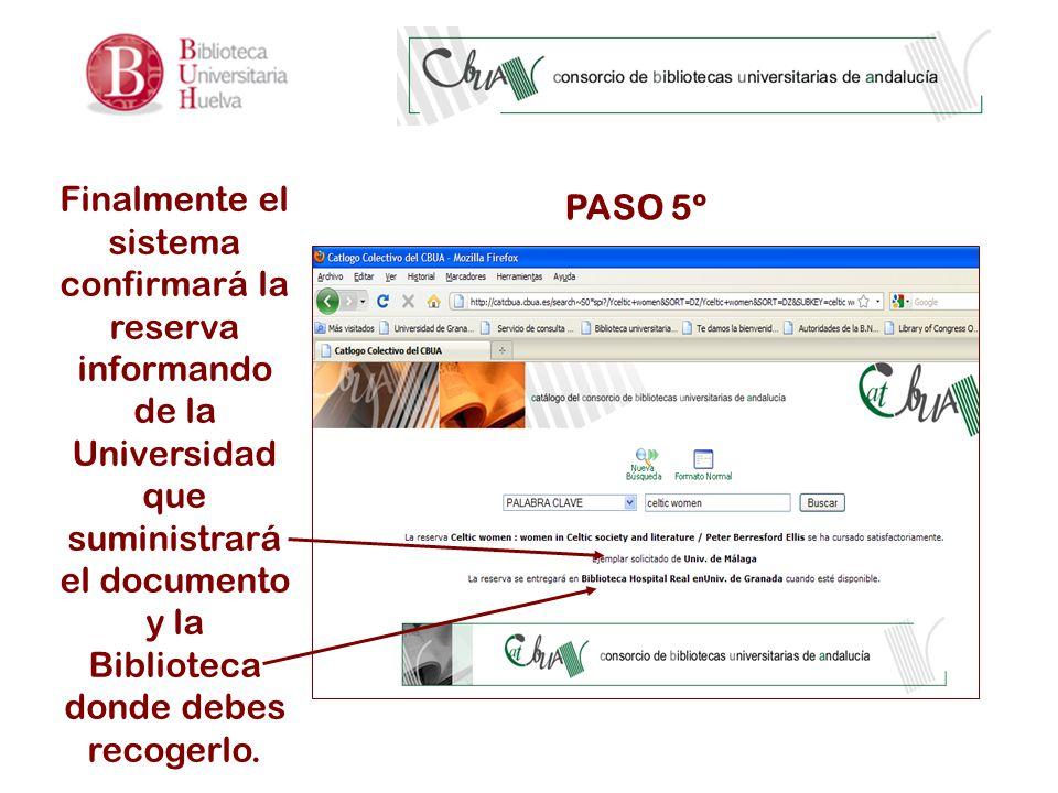 PASO 5º Finalmente el sistema confirmará la reserva informando de la Universidad que suministrará el documento y la Biblioteca donde debes recogerlo.
