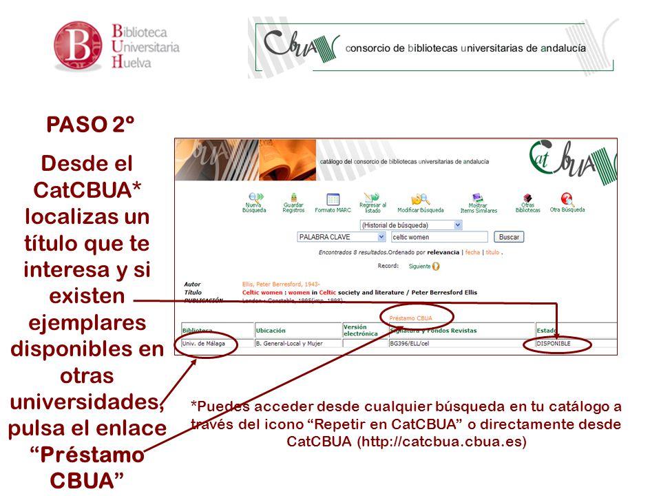 PASO 2º Desde el CatCBUA* localizas un título que te interesa y si existen ejemplares disponibles en otras universidades, pulsa el enlacePréstamo CBUA *Puedes acceder desde cualquier búsqueda en tu catálogo a través del icono Repetir en CatCBUA o directamente desde CatCBUA (http://catcbua.cbua.es)