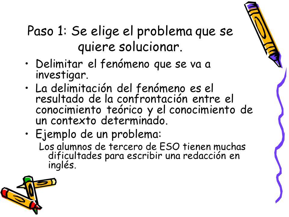 Paso 1: Se elige el problema que se quiere solucionar. Delimitar el fenómeno que se va a investigar. La delimitación del fenómeno es el resultado de l