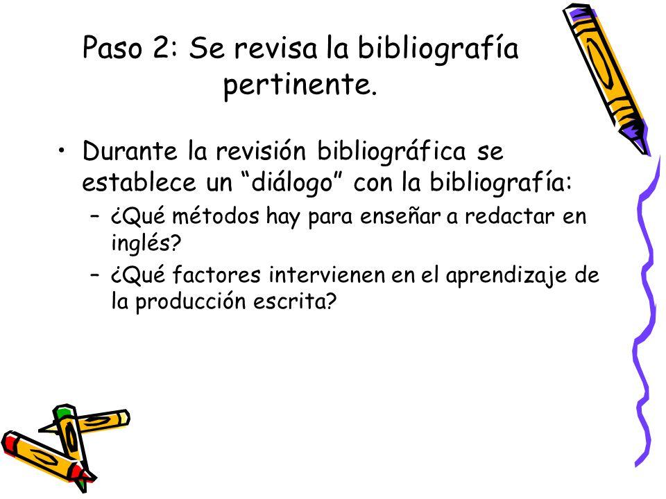 Paso 2: Se revisa la bibliografía pertinente. Durante la revisión bibliográfica se establece un diálogo con la bibliografía: –¿Qué métodos hay para en