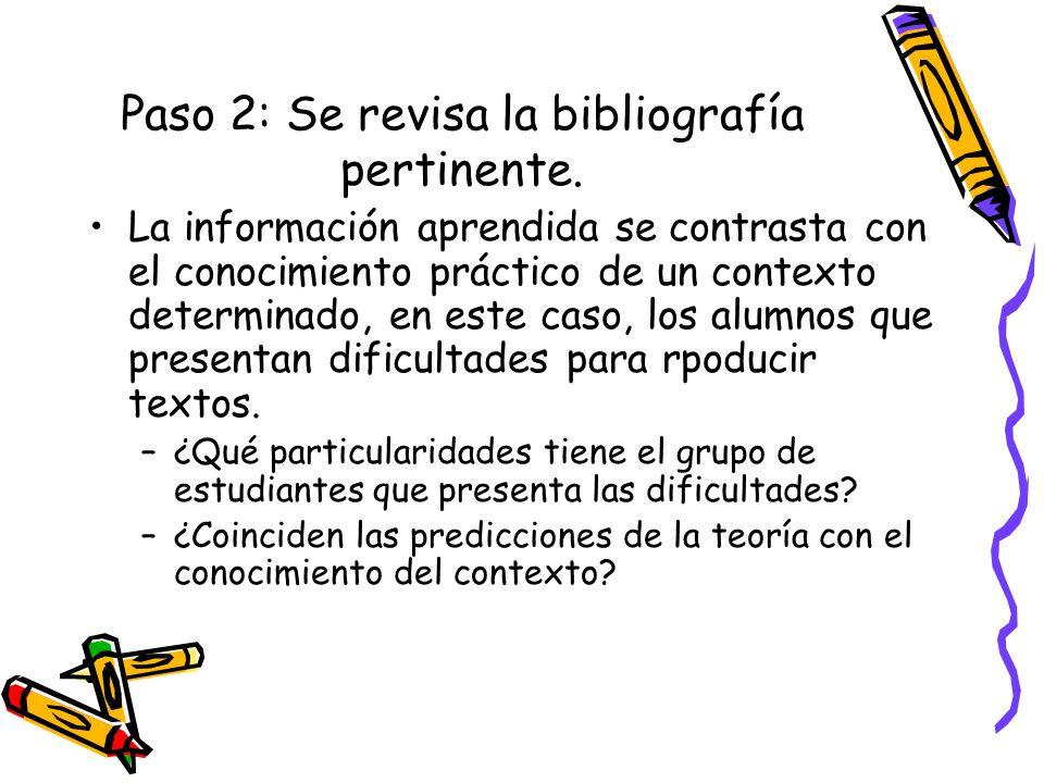 Paso 2: Se revisa la bibliografía pertinente. La información aprendida se contrasta con el conocimiento práctico de un contexto determinado, en este c