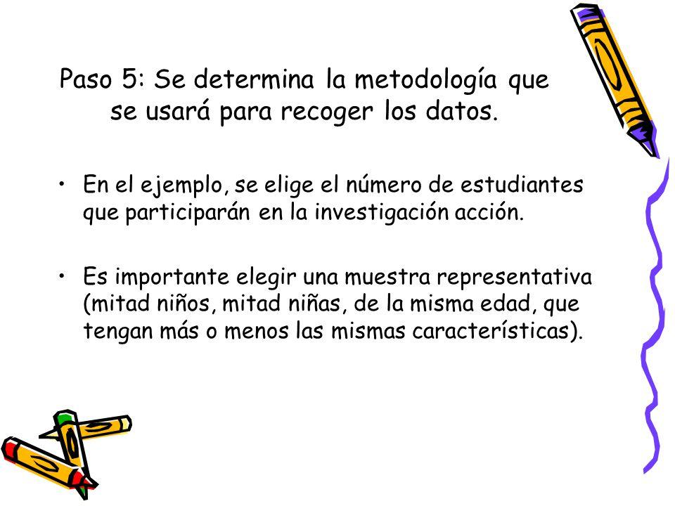 Paso 5: Se determina la metodología que se usará para recoger los datos. En el ejemplo, se elige el número de estudiantes que participarán en la inves