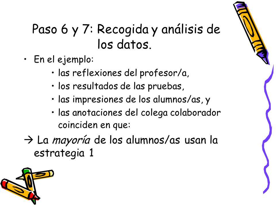 Paso 6 y 7: Recogida y análisis de los datos. En el ejemplo: las reflexiones del profesor/a, los resultados de las pruebas, las impresiones de los alu