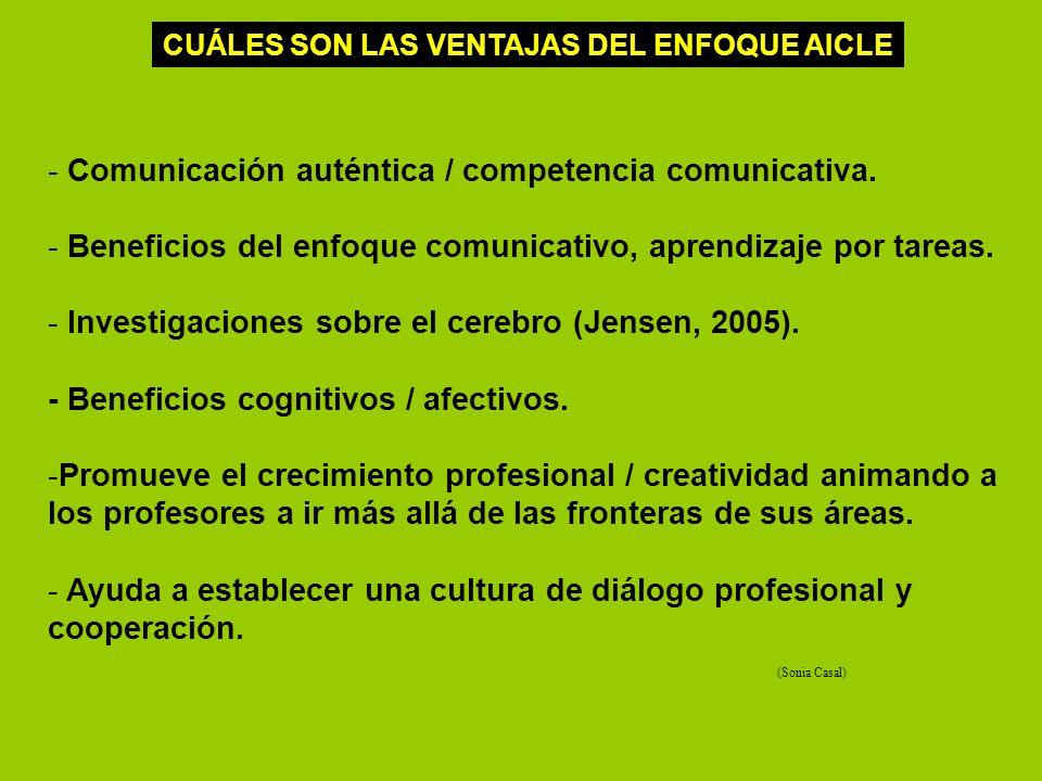 - Comunicación auténtica / competencia comunicativa. - Beneficios del enfoque comunicativo, aprendizaje por tareas. - Investigaciones sobre el cerebro