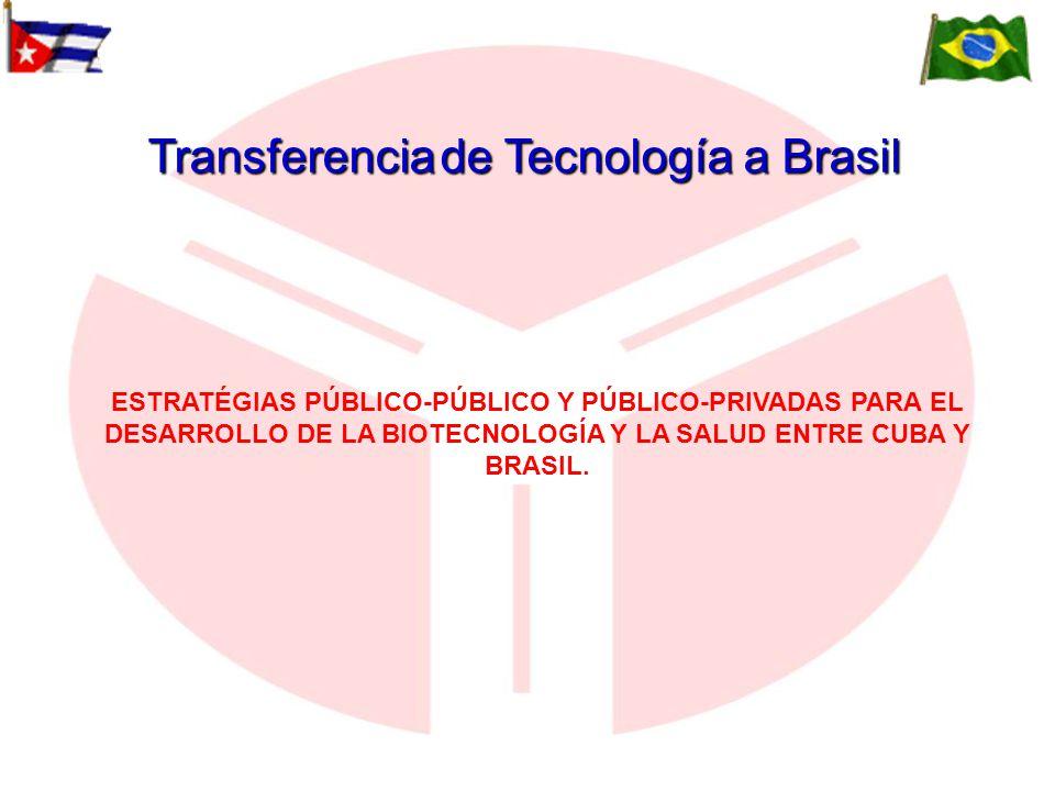 ESTRATÉGIAS PÚBLICO-PÚBLICO Y PÚBLICO-PRIVADAS PARA EL DESARROLLO DE LA BIOTECNOLOGÍA Y LA SALUD ENTRE CUBA Y BRASIL. Transferenciade Tecnología a Bra