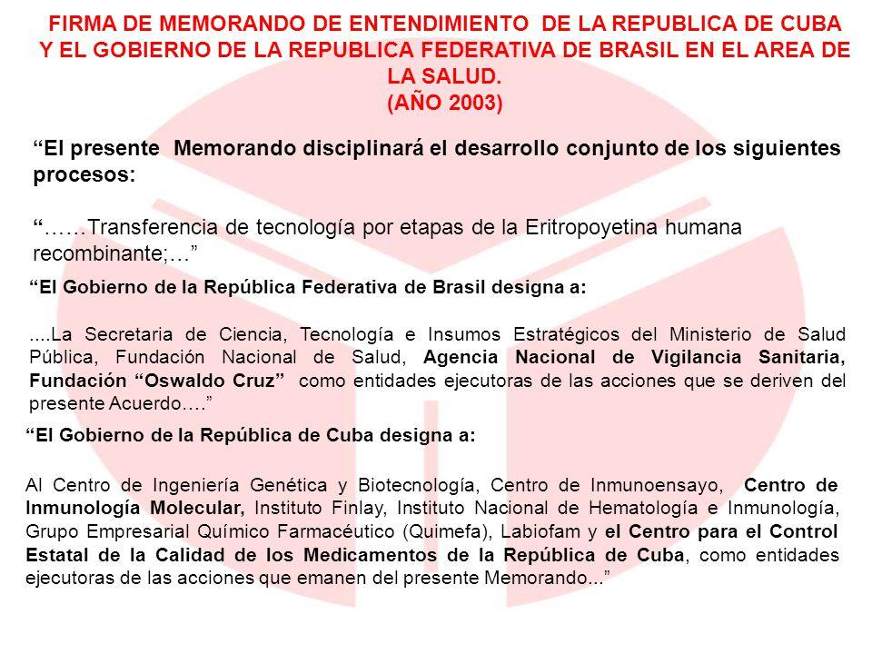 El presente Memorando disciplinará el desarrollo conjunto de los siguientes procesos: ……Transferencia de tecnología por etapas de la Eritropoyetina hu