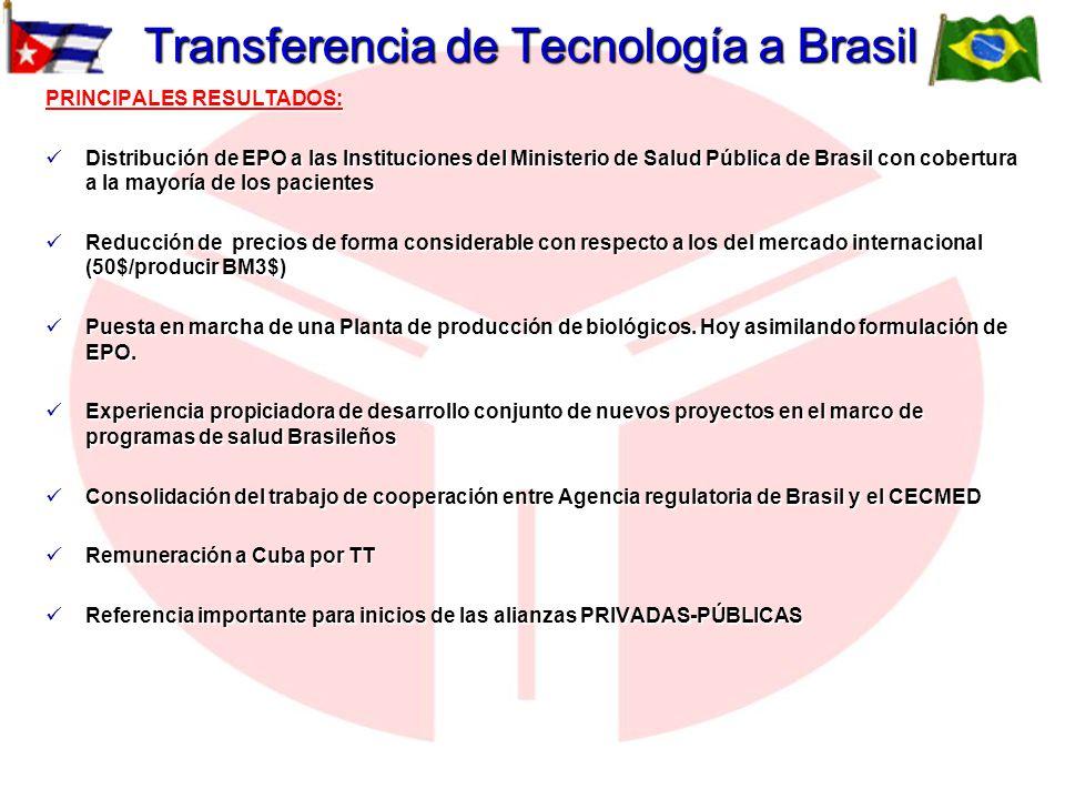 Transferencia de Tecnología a Brasil PRINCIPALES RESULTADOS: Distribución de EPO a las Instituciones del Ministerio de Salud Pública de Brasil con cob