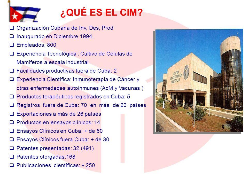 ¿QUÉ ES EL CIM? Organización Cubana de Inv, Des, Prod Inaugurado en Diciembre 1994. Empleados: 800 Experiencia Tecnológica : Cultivo de Células de Mam