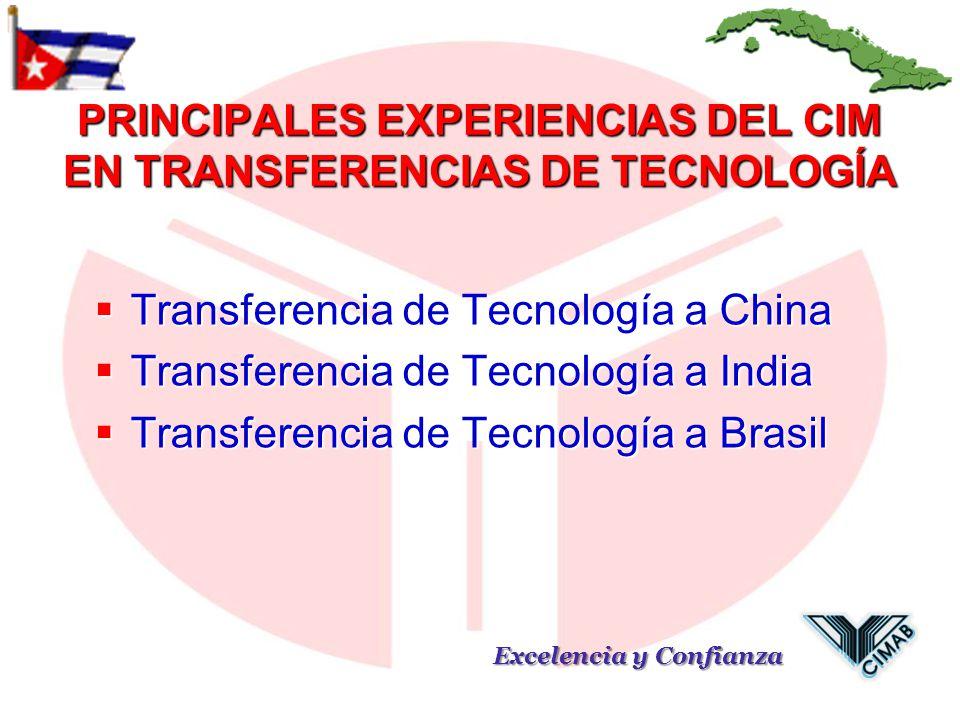 PRINCIPALES EXPERIENCIAS DEL CIM EN TRANSFERENCIAS DE TECNOLOGÍA Transferencia de Tecnología a China Transferencia de Tecnología a China Transferencia