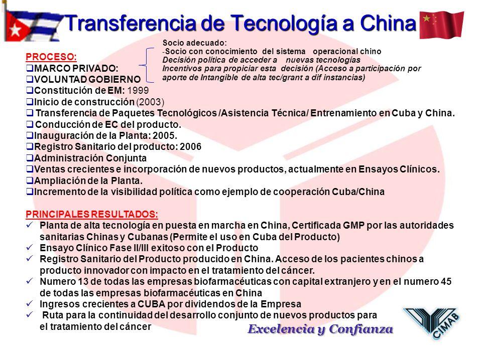 Transferencia de Tecnología a China Excelencia y Confianza PROCESO: MARCO PRIVADO: VOLUNTAD GOBIERNO Constitución de EM: 1999 Inicio de construcción (
