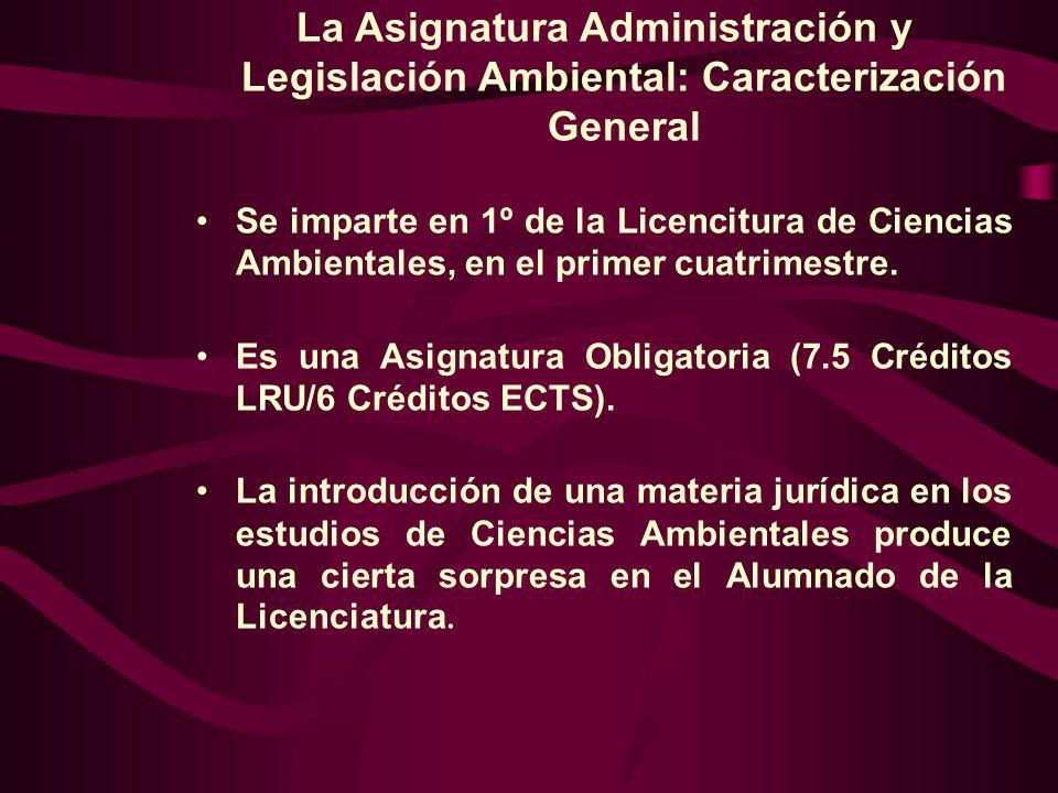 La Asignatura Administración y Legislación Ambiental: Caracterización General Se imparte en 1º de la Licencitura de Ciencias Ambientales, en el primer cuatrimestre.