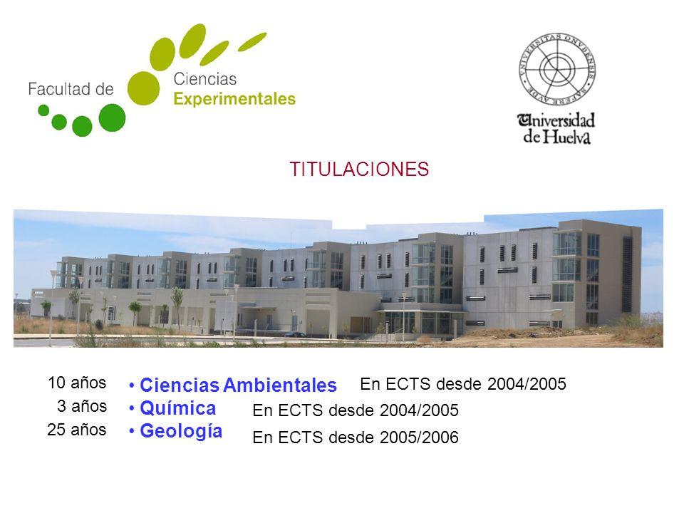 Ciencias Ambientales Química Geología TITULACIONES En ECTS desde 2004/2005 En ECTS desde 2005/2006 10 años 3 años 25 años