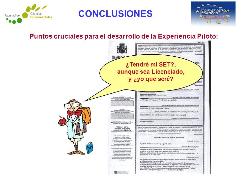 CONCLUSIONES Puntos cruciales para el desarrollo de la Experiencia Piloto: ¿Tendré mi SET?, aunque sea Licenciado, y ¿yo que seré.