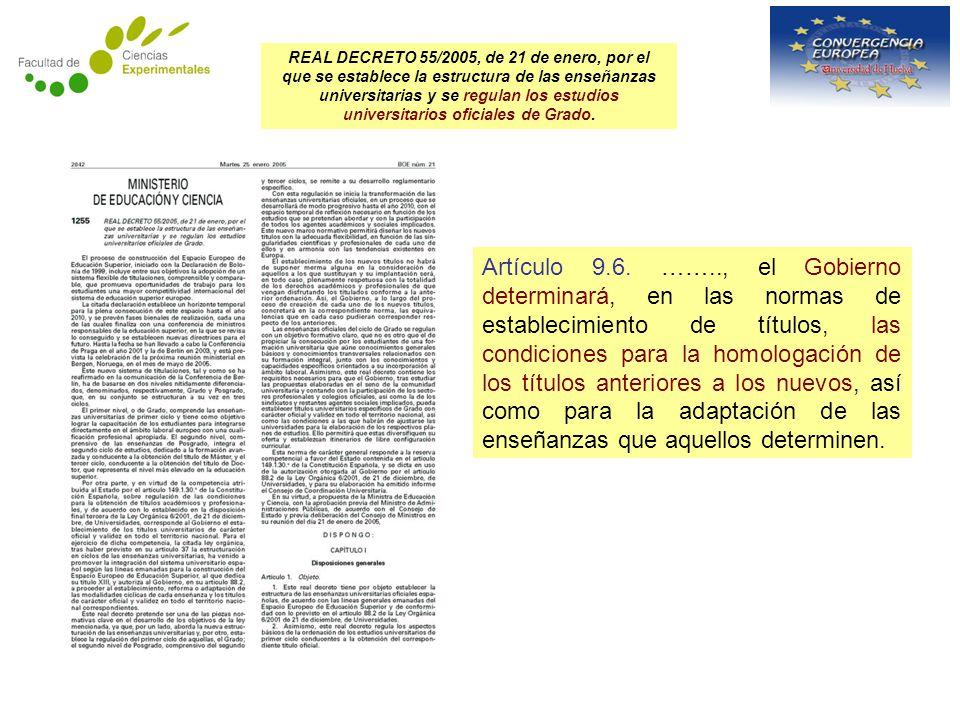REAL DECRETO 55/2005, de 21 de enero, por el que se establece la estructura de las enseñanzas universitarias y se regulan los estudios universitarios oficiales de Grado.