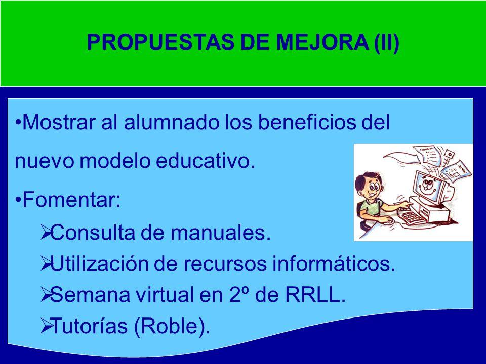 PROPUESTAS DE MEJORA (II) Mostrar al alumnado los beneficios del nuevo modelo educativo. Fomentar: Consulta de manuales. Utilización de recursos infor