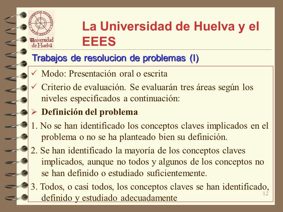 12 La Universidad de Huelva y el EEES Modo: Presentación oral o escrita Criterio de evaluación. Se evaluarán tres áreas según los niveles especificado