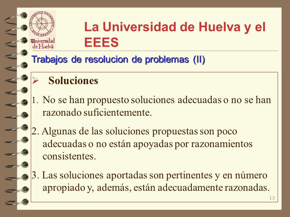 13 La Universidad de Huelva y el EEES Soluciones 1. No se han propuesto soluciones adecuadas o no se han razonado suficientemente. 2. Algunas de las s