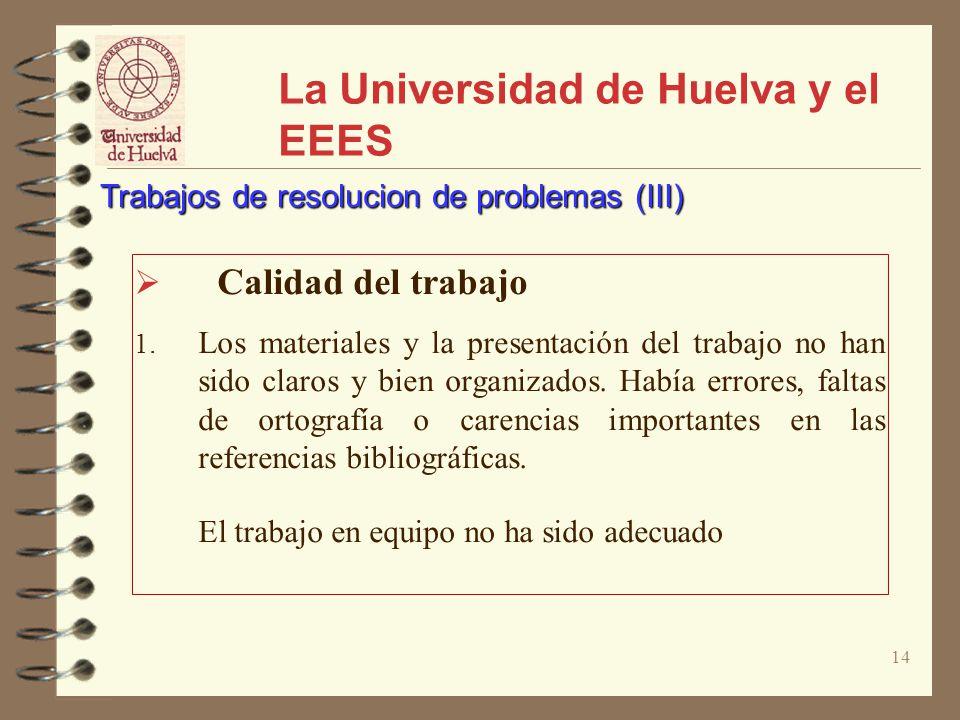 14 La Universidad de Huelva y el EEES Calidad del trabajo 1. Los materiales y la presentación del trabajo no han sido claros y bien organizados. Había