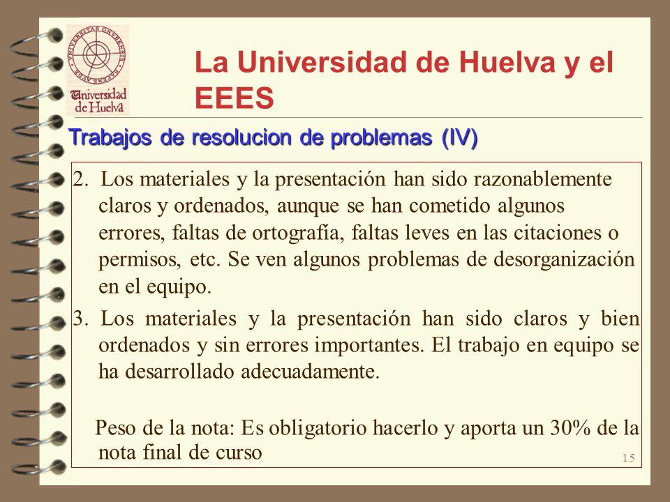 15 La Universidad de Huelva y el EEES 2. Los materiales y la presentación han sido razonablemente claros y ordenados, aunque se han cometido algunos e