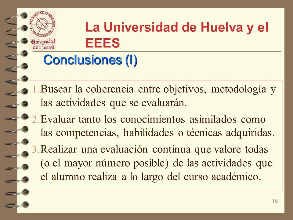 16 La Universidad de Huelva y el EEES Conclusiones (I) 1. Buscar la coherencia entre objetivos, metodología y las actividades que se evaluarán. 2. Eva